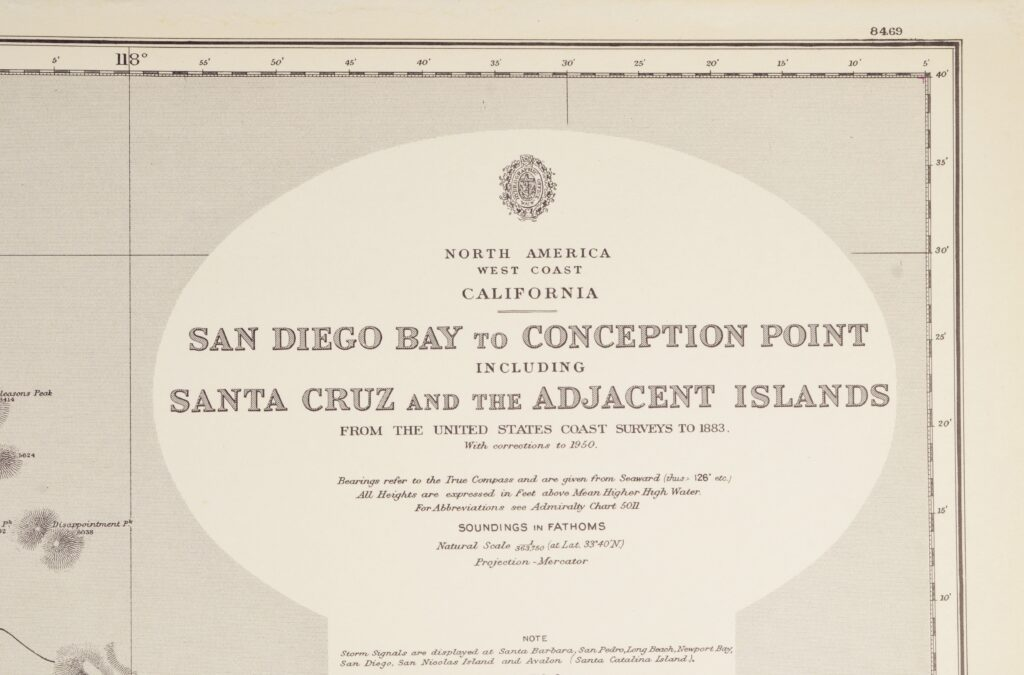 Los Angeles, California – Pacific Coast North America British Admiralty Chart 899, published 1885