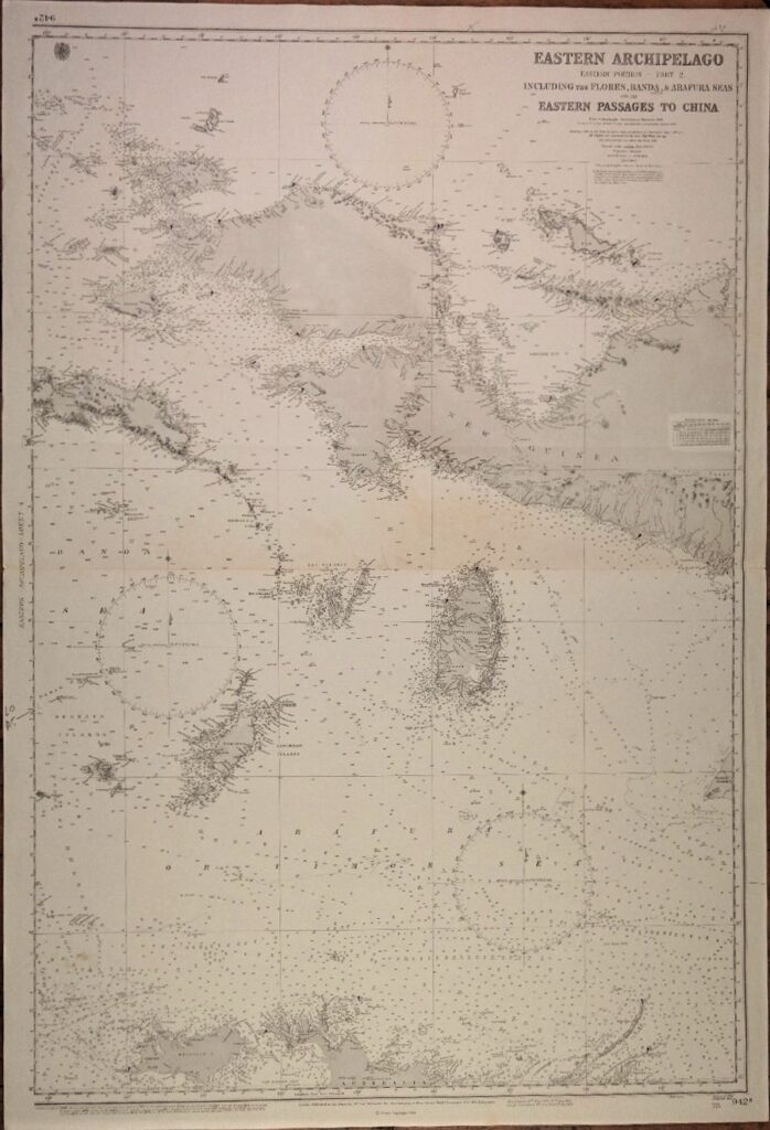 Eastern Archipelago – the Western and Eastern portions of the Dutch Indies British Admiralty Chart 941a/b and 942a/b in 4 sheets, published 1867 – 1920