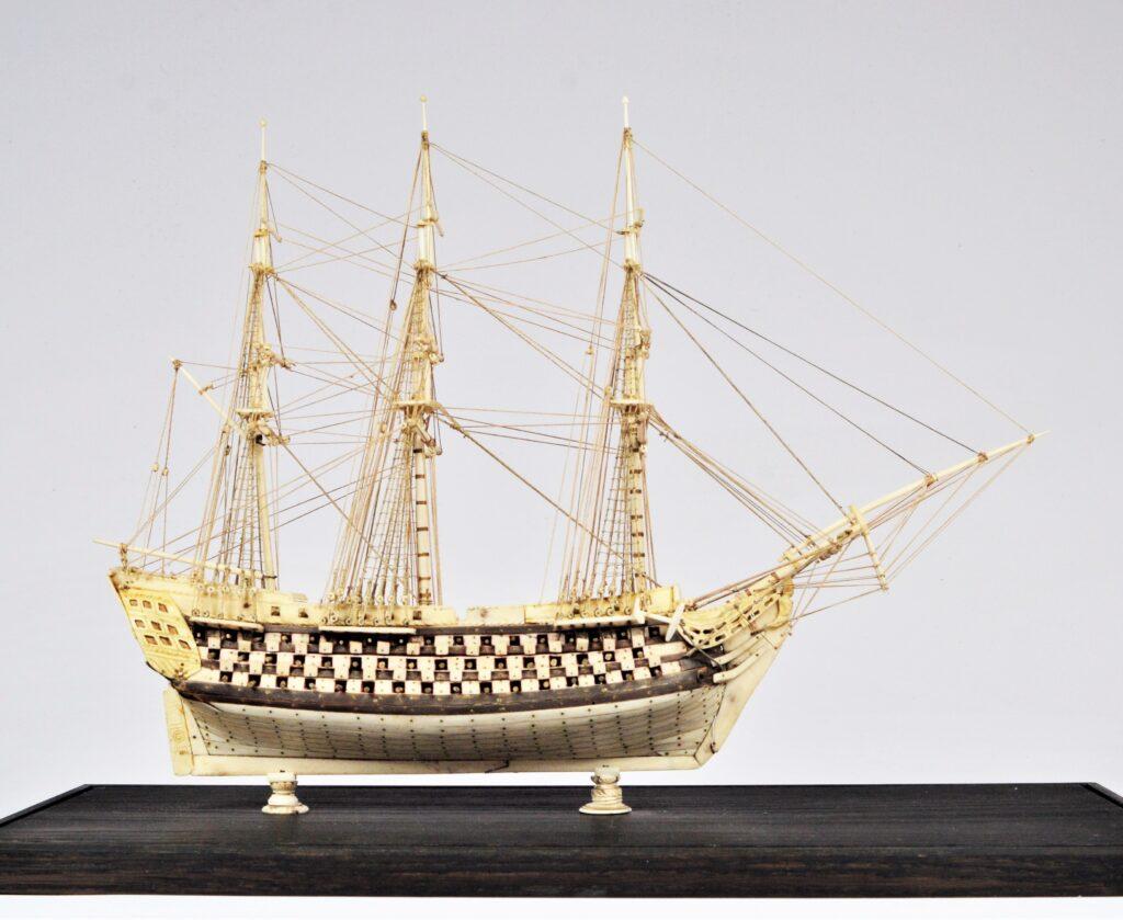 Antique French Prisoner of War Bone Ship Model – c. 1810